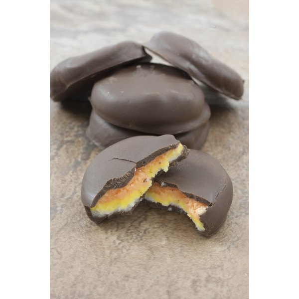 Peppermint Patties filled with white, yellow and orange filling.