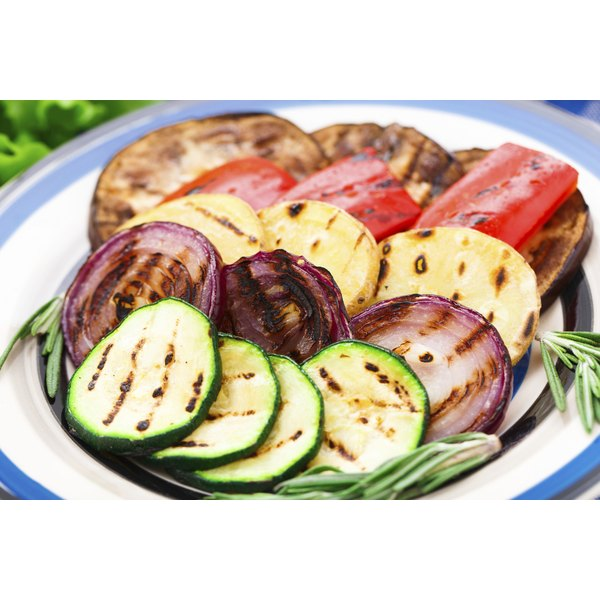 A plate of grilled vegetables.