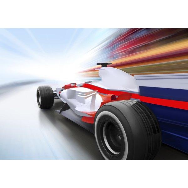A race car in motion.