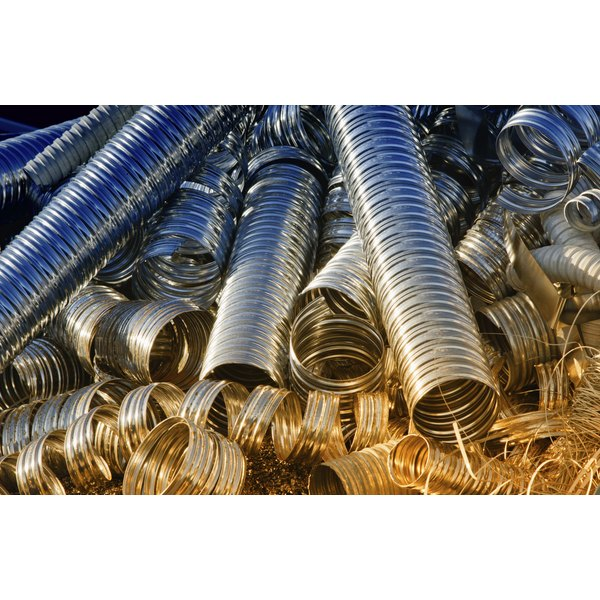 Aluminum pipes being recycled