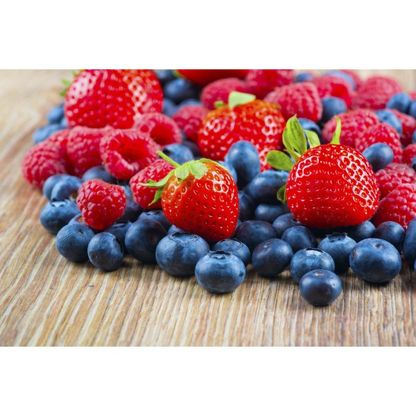 Strawberries and blueberries.