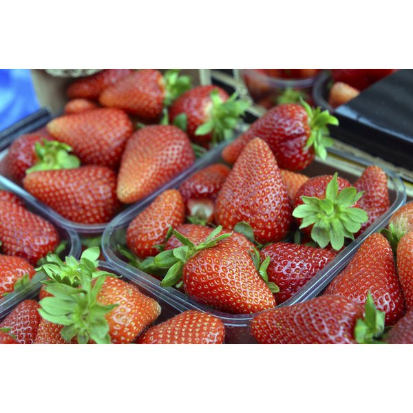 Strawberries for sale at a market.