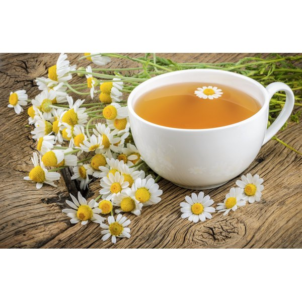 A cup of freshly made chamomile tea.