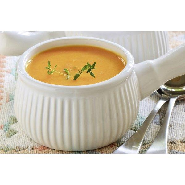 A bowl of sweet potato and squash soup.
