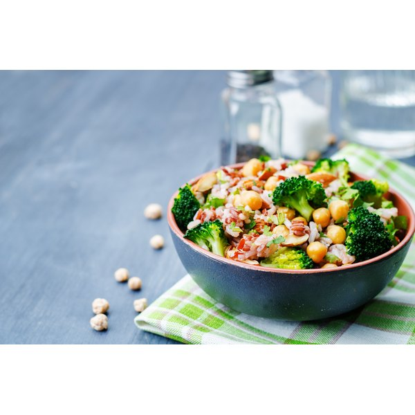 A broccoli and bulgar wheat salad with garbanzo beans, almonds, and cilantro.