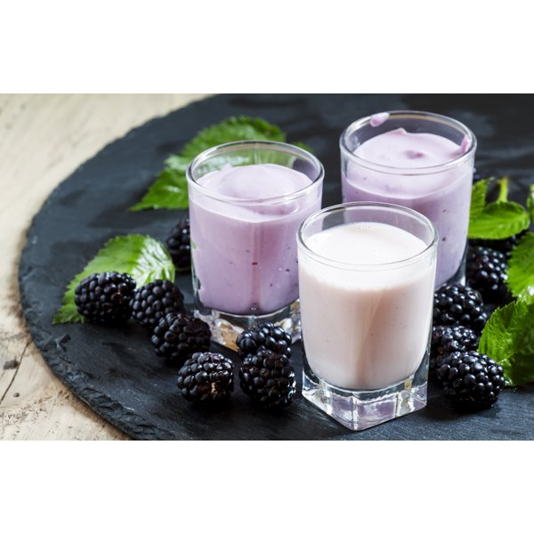 Nutritional shakes on a tray.