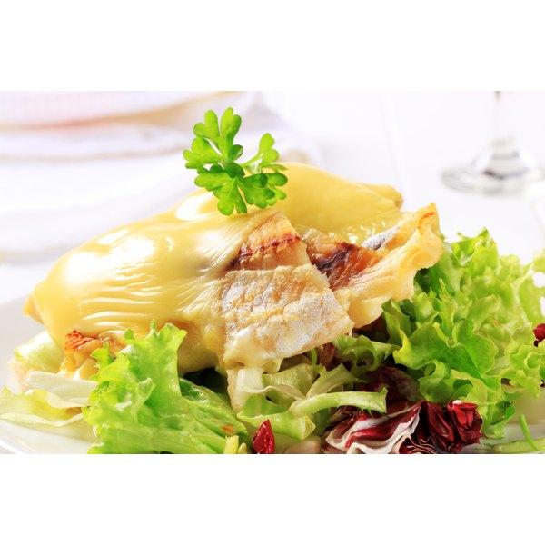 Seared cod draped in cheese.