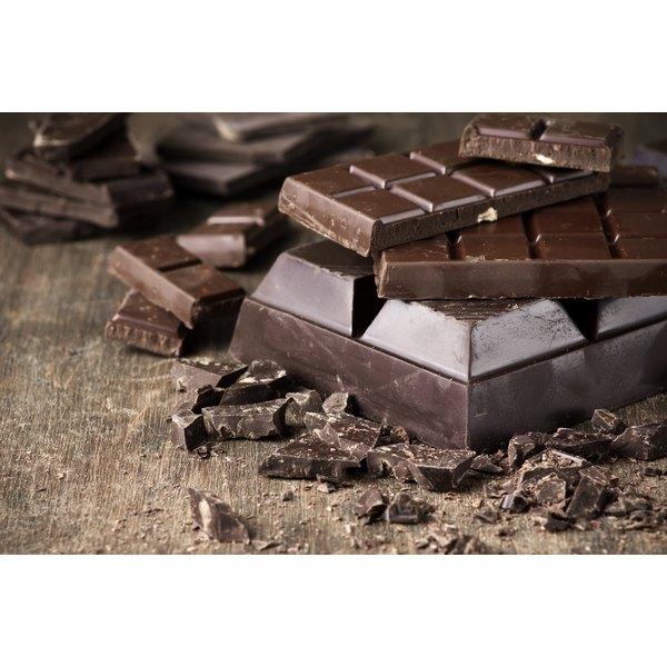 Dark chocolate bars on a table.