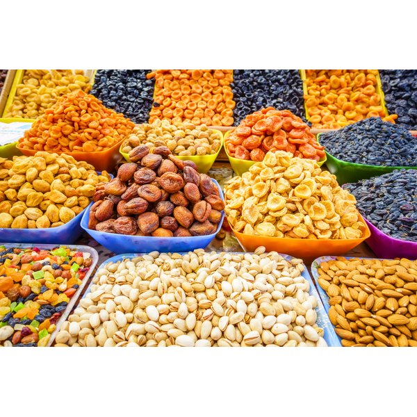 Dried fruit for sale at a market.