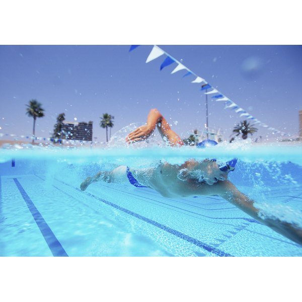 A male swimmer pictured during a race.