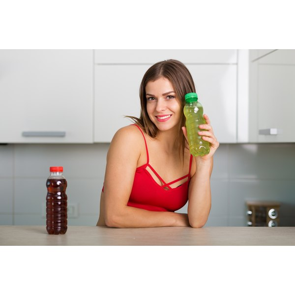 Woman holding an energy drink