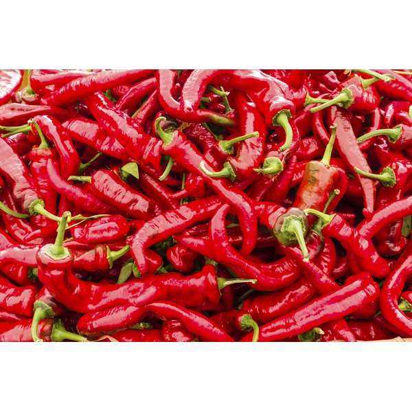 Cayenne peppers for sale at a market.