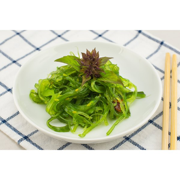 A plate of seaweed salad.