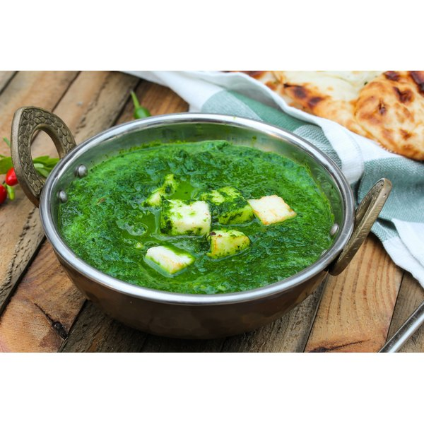 A bowl of palak paneer.