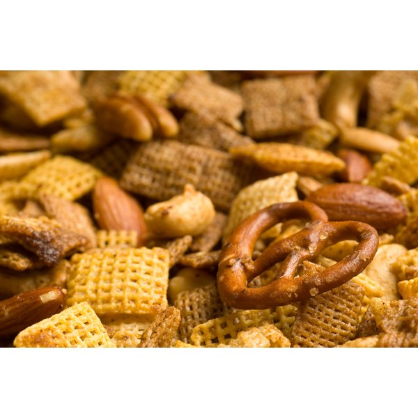 A close-up of Chex Mix.