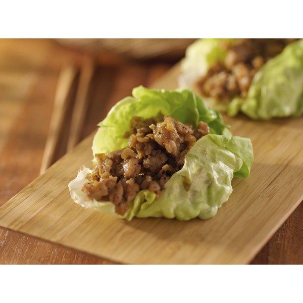 Small lettuce leaves work better for bite-sized cups.