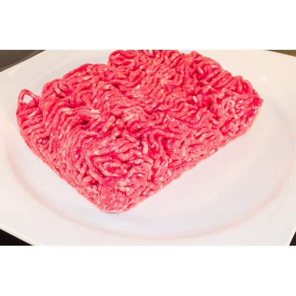 A plate of raw ground beef.