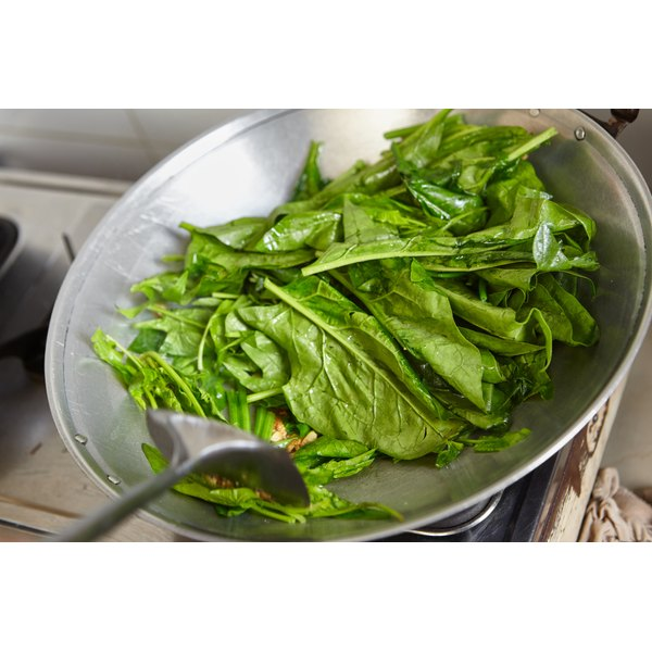 A pan of spinach being sautéed.