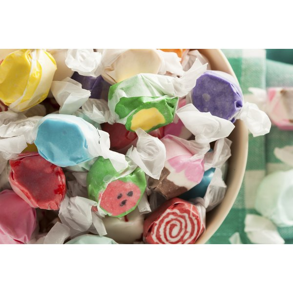 A bowl of taffy candy.