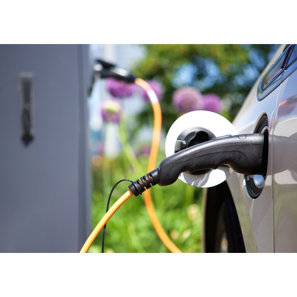 A Hybrid Car Is Plugged In