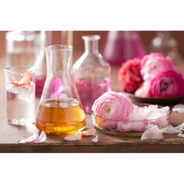 Glass bottles of essential oils for aromatherapy.