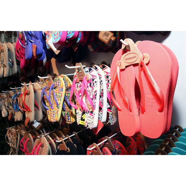 Havaianas on sale inside of store.