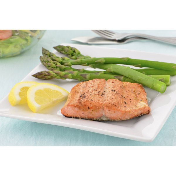 A plate of salmon and asparagus.