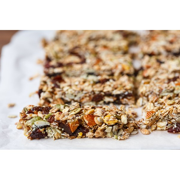 Energy bars on parchment paper.