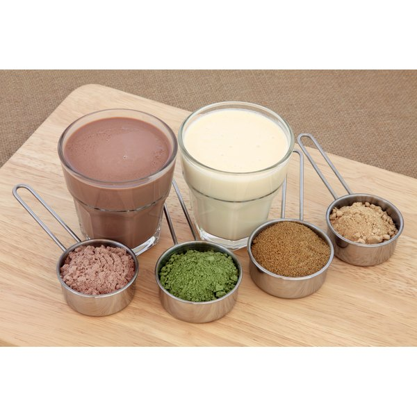 Selection of whey protein powders with protein drinks