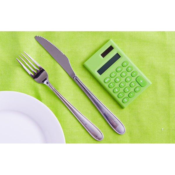 A plate and silverware are next to a calculator.