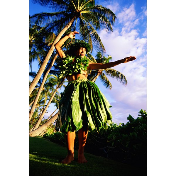 Hula girls often use plant materials in their costumes.