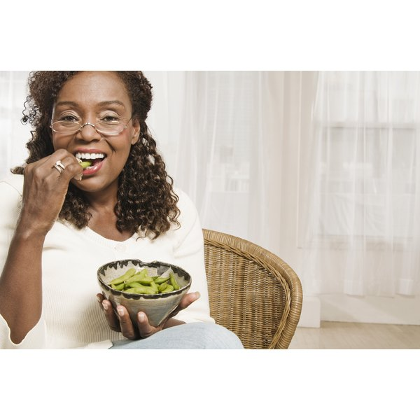 A bowl of edamame is a satisfying and healthy snack.
