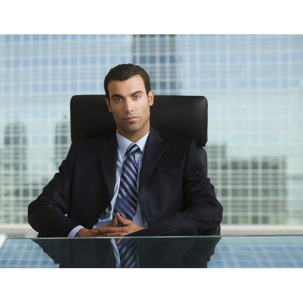 A dark suit is the right look for a business professional setting.