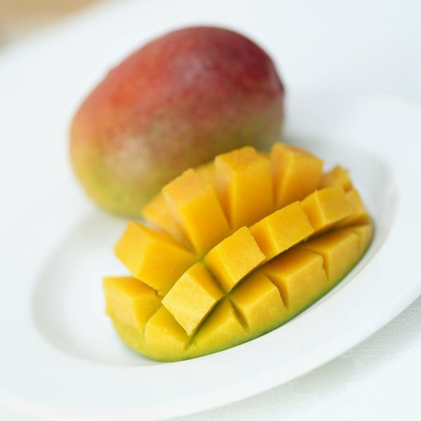 Slicing cubes into the mango's flesh is known as the hedgehog method.