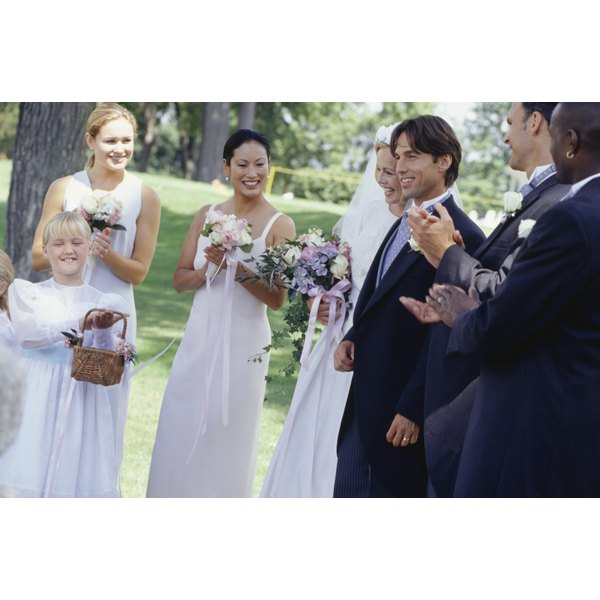Wedding parties include bridesmaids and groomsmen.