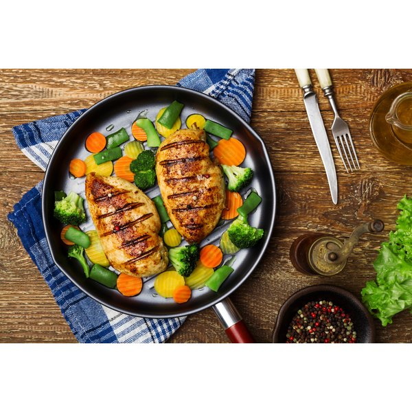 Grilled chicken with veggies makes a simple low-carb, lean-protein meal.
