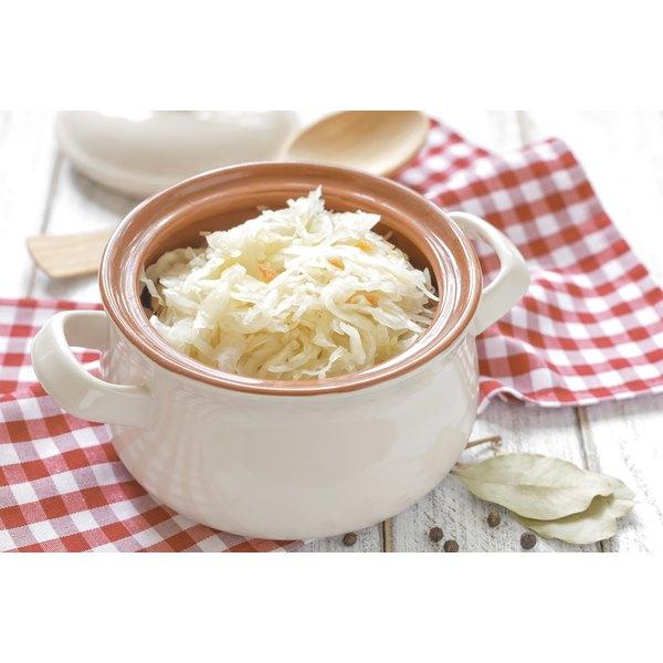 A large bowl of sauerkraut.