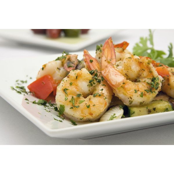 Sauteed shrimp on vegetables