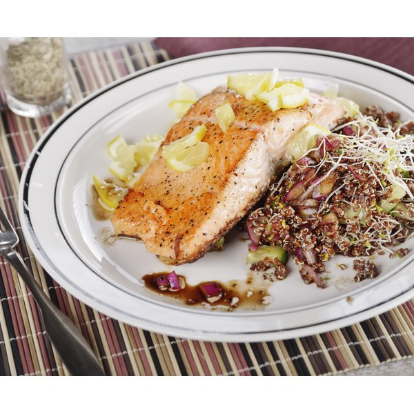 Salmon and quinoa are examples of nutritious filling foods.