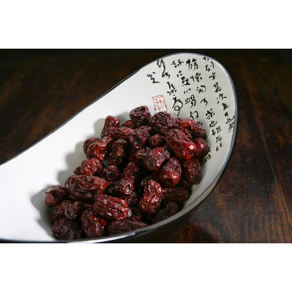 A bowl of dried fruit.