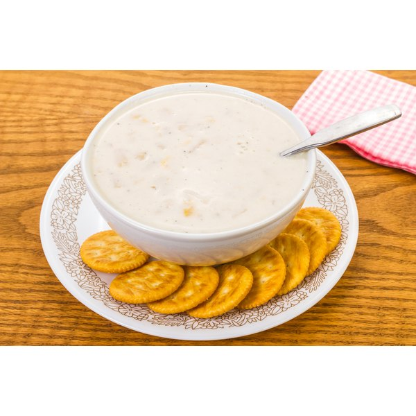 Corn chowder and crackers.