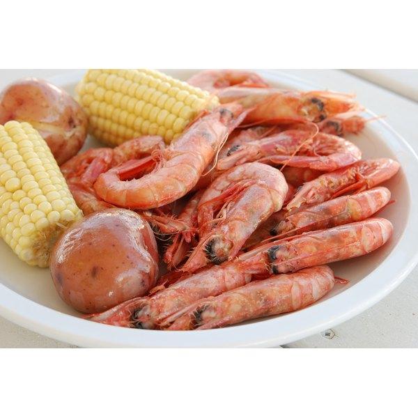 Fresh red shrimp at a market.