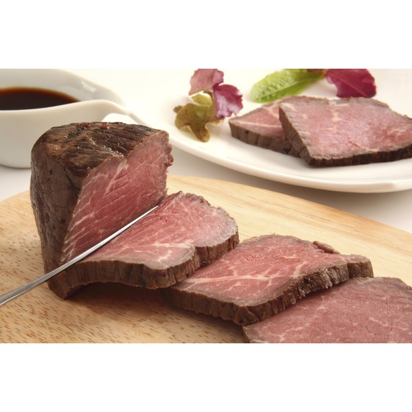 A sliced boneless rib roast.