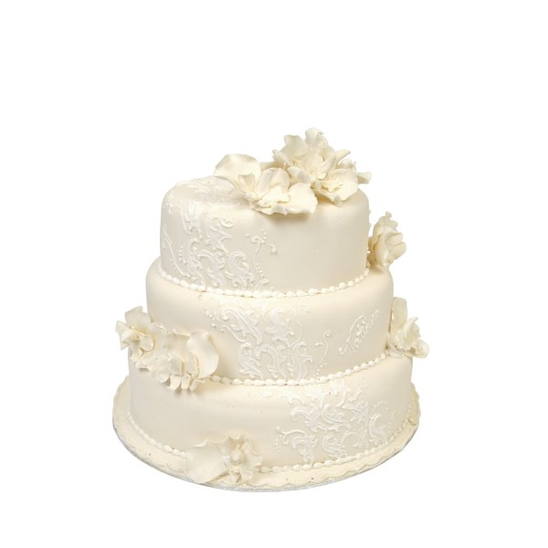 A standard wedding cake serving is 8 cubic inches, according to Wilton.
