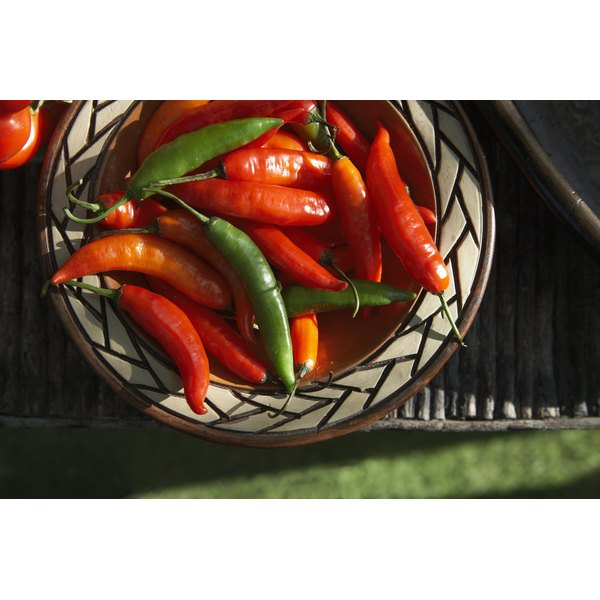 Hot peppers range from red to yellow to green to black.