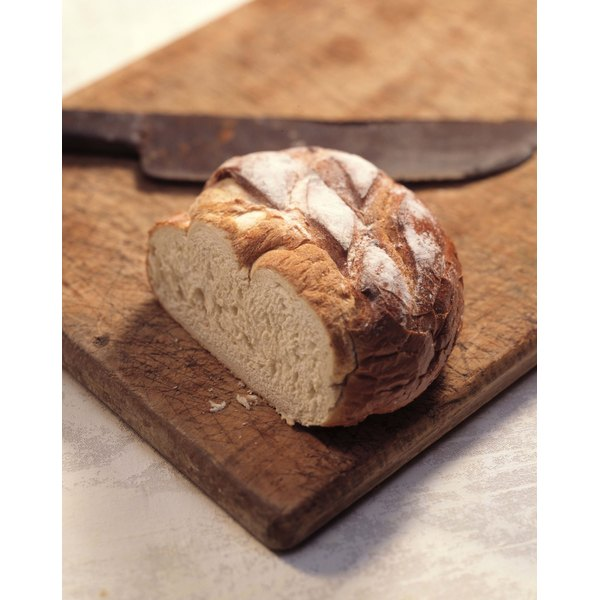Sourduogh bread gets its distinctive flavor and texture from starter.