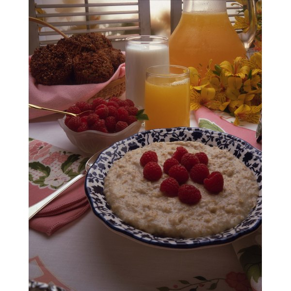 Oatmeal with fresh fruit makes a hearty, nutritious breakfast.