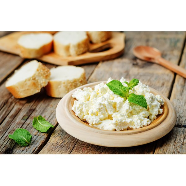 Nonfat cottage is cheese with bread.