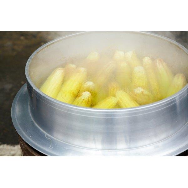 steaming frozen ears of corn