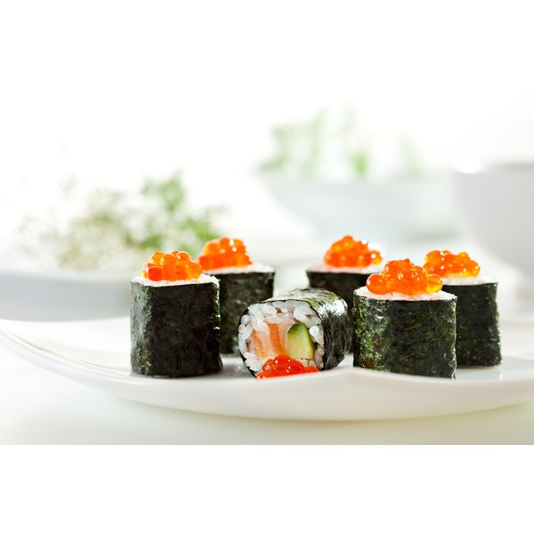 Seaweed wrapped sushi with salmon roe.